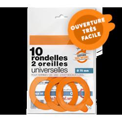 """Rondelles universelles """" 2 oreilles """" - ø 70 - sachet 10 - Le Parfait"""
